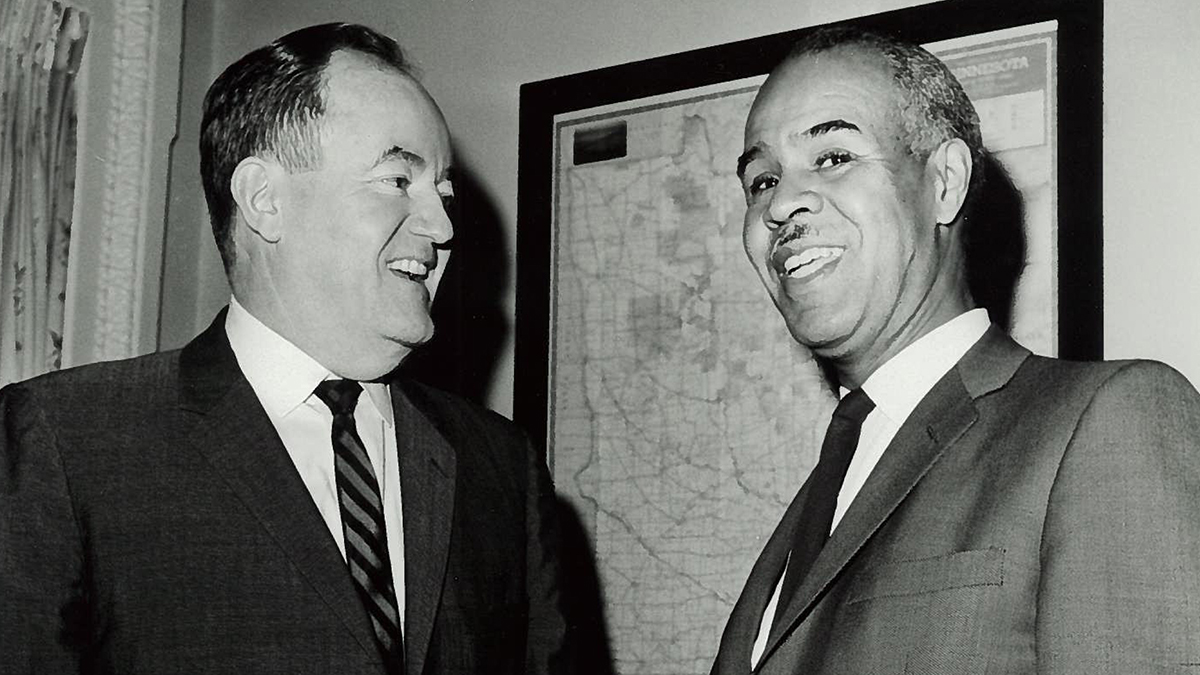 Hubert Humphrey and Roy Wilkins side by side