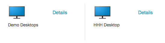 "Login window for Citrix software, with ""Demo Desktops"" and ""HHH Desktop"" icons displayed"