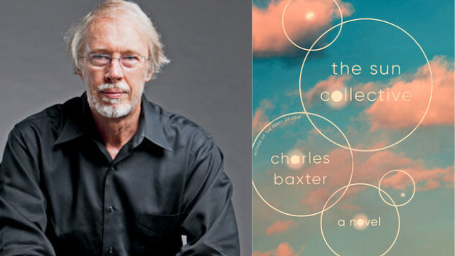 Headshot of Charles Baxter next to the cover of his book The Sun Collective