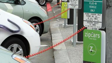 Electric cars at a charging station