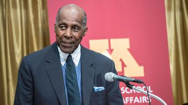 Vernon Jordan speaks at the Humphrey School in 2018