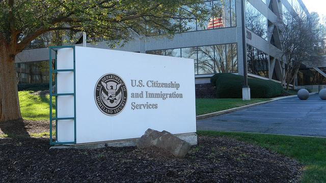 Signage of the US Citizenship and Immigration Services building