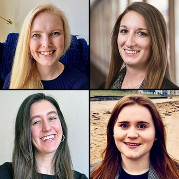 Composite of head shots of four female Humphrey School students