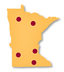 MN state map with dots showing locations of Courageous Conversations forums
