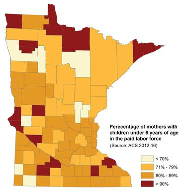 Map of Minnesota showing the rate of working mothers in each county